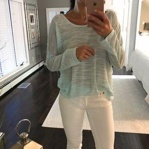 Olive & Oak light blue sheer sweater top large